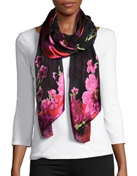 Collection 18 Floral Silk Blend Scarf Black