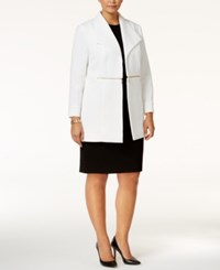 Kasper Plus Size Quilted Open Front Blazer Ivory