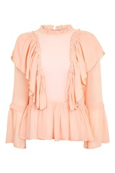 Topshop Georgette Ruffle Blouse Pink