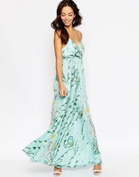 Traffic People Silk Maxi Dress In Large Butterfly Print With Metallic Thread Blue