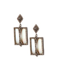 Bavna Champagne Diamond And Mother Of Pearl Drop Earrings