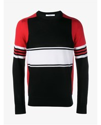 Givenchy Paneled Wool Jumper Black Red White