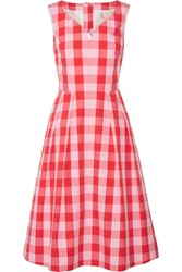 Draper James Cutout Gingham Cotton Poplin Dress Pink
