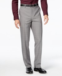 Alfani Men's Windowpane Plaid Flat Front Pants Light Grey