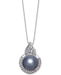 Macy's Cultured Tahitian Black Pearl 11Mm And Diamond 1 3 Ct. T.W. Pendant Necklace In 14K White Gold