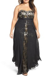 Decode 1.8 Plus Size Women's Embellished Strapless Gown