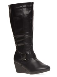 Evans Extra Wide Fit Buckle Wedge Long Boot Black