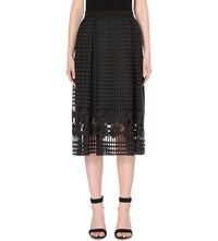 Warehouse A Line Open Lace Midi Skirt Black