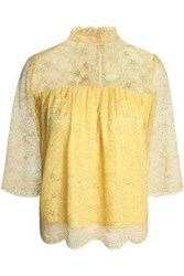 Day Birger Et Mikkelsen Gathered Corded Lace Blouse Yellow