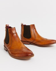 Base London Gaffer Brogue Chelsea Boots In Tan