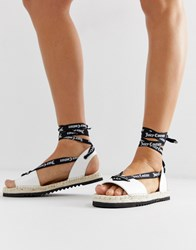 Juicy Couture Leather Tie Ankle Flat Sandals White
