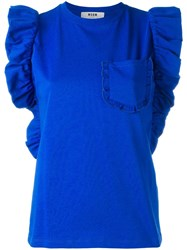 Msgm Frill Detail Sleeveless Top Blue