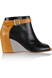 Mm6 Maison Margiela Color Block Leather Wedge Ankle Boots