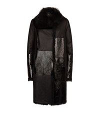 Escada Sport Reversible Patent Panel Shearling Coat Female Black