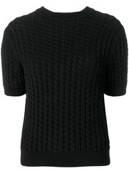 Alessandra Rich Cable Knit Short Sleeve Top Black