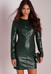 Missguided Faux Leather Long Sleeve Bodycon Dress Green Green
