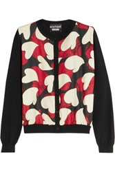 Boutique Moschino Printed Crepe De Chine Paneled Wool Cardigan Black