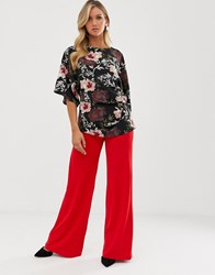 Ax Paris Wide Leg Pants Red