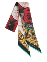 Dolce And Gabbana Rose Print Mini Silk Twill Scarf