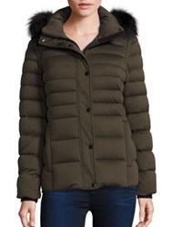 Andrew Marc New York Fox Fur Trim Convertible Down Puffer Jacket Olive