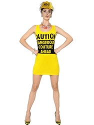 Moschino Caution Intarsia Cotton Knit Dress