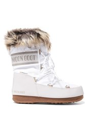 Moon Boot Monaco Faux Fur Lined Shell And Faux Leather Snow Boots White