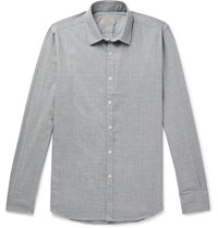 Canali Slim Fit Houndstooth Cotton Shirt Blue