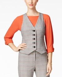 Nine West Plaid Five Button Vest Sunset Multi