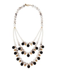 Lydell Nyc Tri Tone Matte Beaded Three Strand Bib Necklace Multi