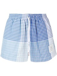 Thom Browne Fun Mix Check Cotton Rugby Short Blue