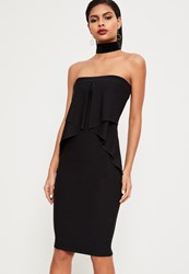 Missguided Black Bandeau Frill Detail Peplum Midi Dress