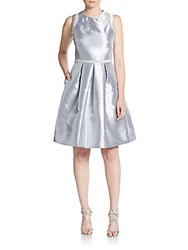 Carmen Marc Valvo Infusion Beaded Fit And Flare Dress Silver