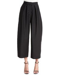 Donna Karan Wide Leg Cropped Jacquard Pants Black Women's