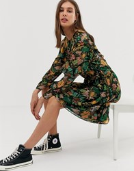 Maison Scotch Leaf Print Ruffle Dress Black