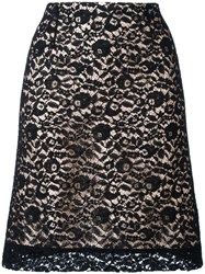 Lanvin Lace Overlay A Line Skirt Black