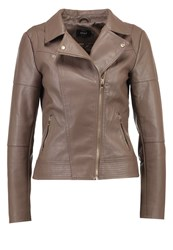 Only Onlcara Faux Leather Jacket Chocolate Chip Dark Brown
