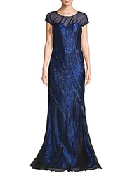 Rene Ruiz Embellished Floor Length Gown Cobalt