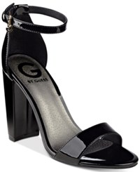G By Guess Shantel Two Piece Sandals Women's Shoes Black Patent