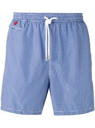 Kiton Houndstooth Pattern Swim Shorts Blue