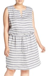 Plus Size Women's Caslon Drawstring Waist Stripe Cotton Dress Navy Indigo Stripe