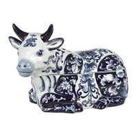 Pols Potten Porcelain Cow Cookie Jar Blue