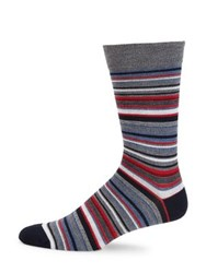 Saks Fifth Avenue Collection Striped Knit Socks Denim Purple Grey Red