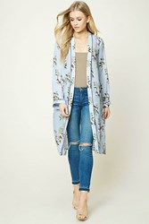Forever 21 Floral Longline Kimono Baby Blue Purple