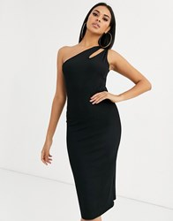 Ivyrevel Cutout One Shoulder Dress In Black
