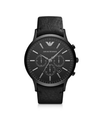 Emporio Armani Renato Black Stainless Steel And Leather Strap Men's Watch