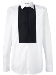 Neil Barrett Striped Bib Detail Shirt White