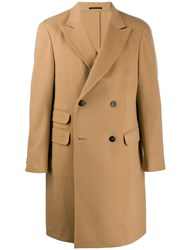 Z Zegna Fitted Double Breasted Coat Brown