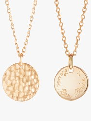 Merci Maman Personalised Small Hammered Pendant Necklace Gold