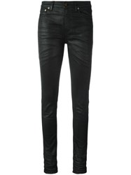 Saint Laurent Skinny Fit Coated Jeans Black