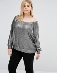 Alice And You Off The Shoulder Jumper In Metallic Knit Silver